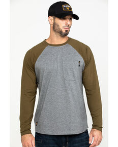 Hawx® Men's Olive Baseball Raglan Crew Long Sleeve Work Shirt - Tall , Olive, hi-res