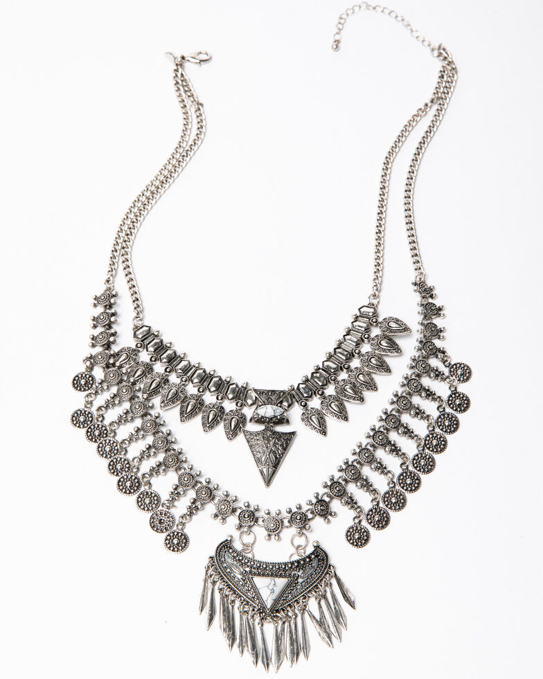 Shyanne Women's Blue Falls White Turquoise Statement Necklace, Silver, hi-res