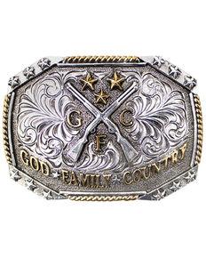 Cody James Men's God, Family, Country Belt Buckle, No Color, hi-res