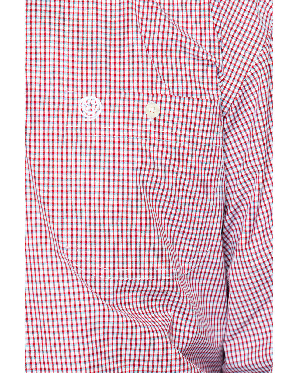 George Strait by Wrangler Men's Mini Check Plaid Long Sleeve Shirt, Blue/red, hi-res