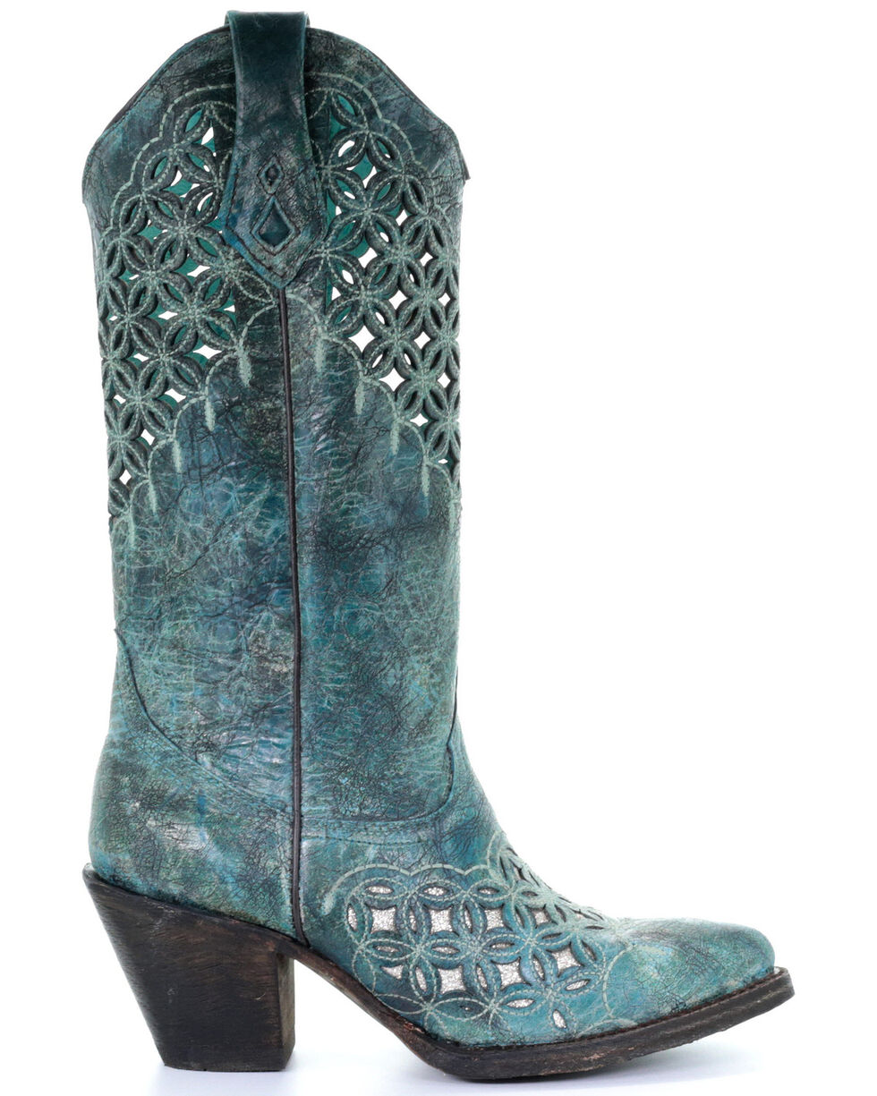 Corral Women's Cutout Inlay Western Boots - Round Toe, Turquoise, hi-res