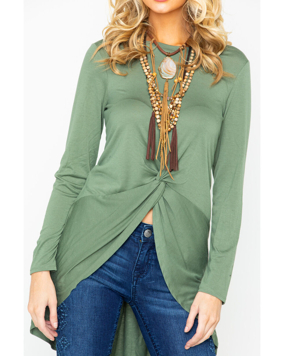 Wrangler Women's Knit High Low Long Sleeve Top, Olive, hi-res
