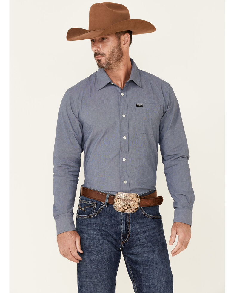 Kimes Ranch Men's Solid Navy Linville Coolmax Long Sleeve Button-Down Western Shirt, Navy, hi-res