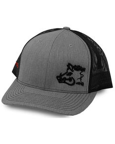 Oil Field Hats Men's Heather Grey & Black Sniper Pig Embroidered Mesh-Back Ball Cap , Grey, hi-res