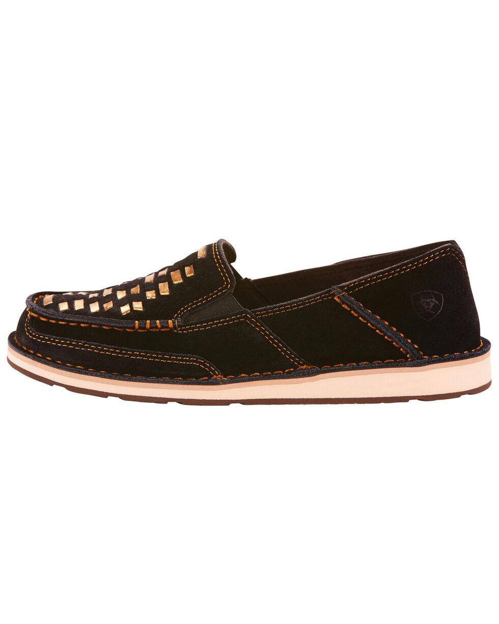 Ariat Women's Black Suede Cruise Weave Slip On Shoes - Moc Toe, Black, hi-res