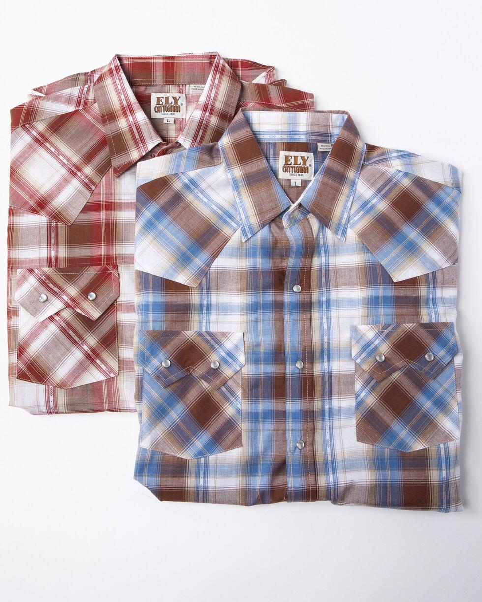 Ely Cattleman Men's Assorted Dobby Plaid Snap Short Sleeve Western Shirt , Multi, hi-res