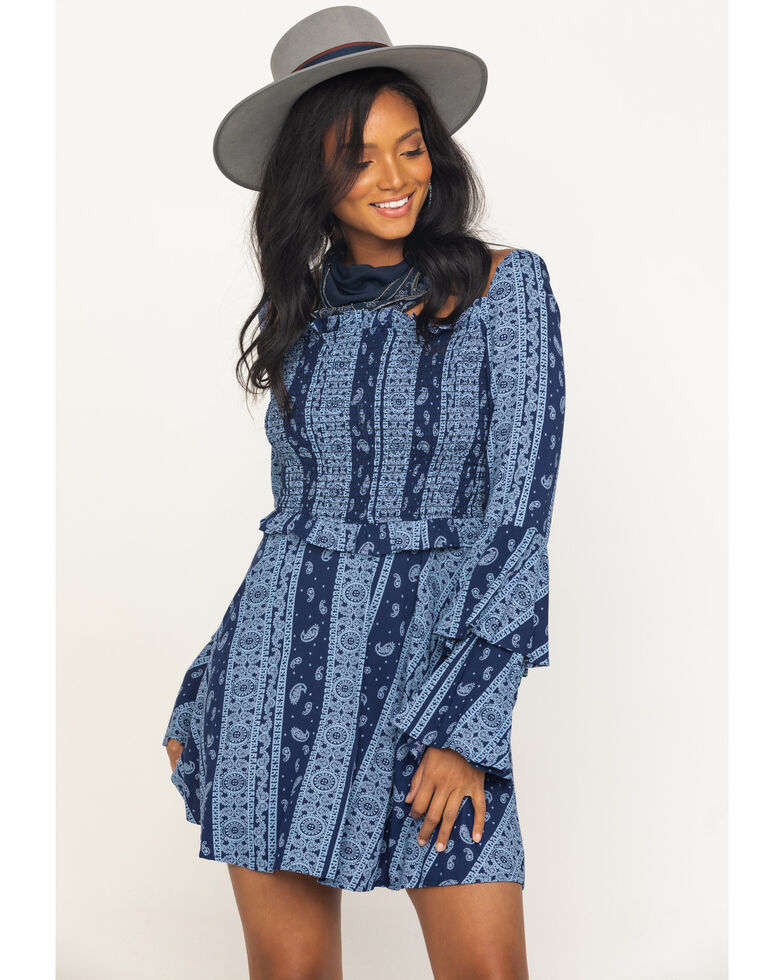 Rock & Roll Cowgirl Women's Navy Bandana Print Dress, Navy, hi-res