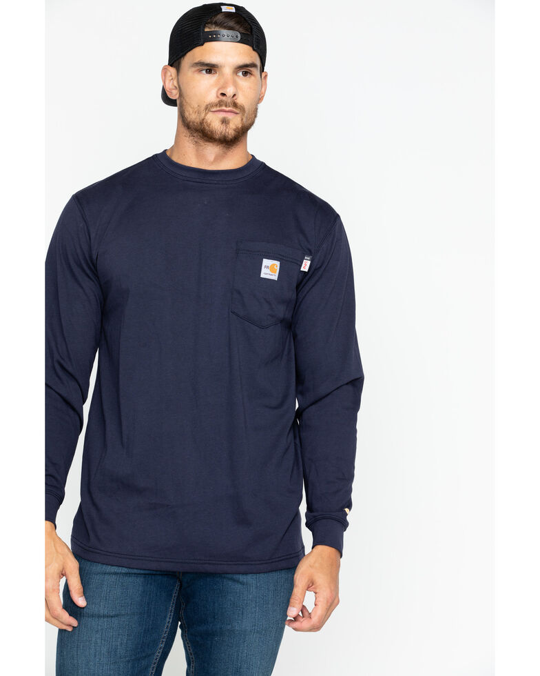 Carhartt Men's Flame-Resistant Solid Long-Sleeve Work Shirt - Big & Tall, Navy, hi-res