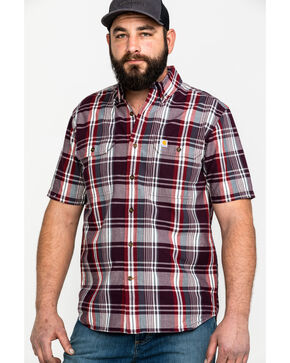 Carhartt Men's Rugged Flex Rigby Short Sleeve Plaid Work Shirt , Red, hi-res