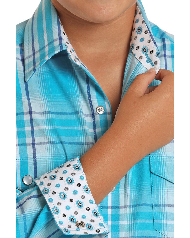 Panhandle Select Boys' Turquoise Plaid Long Sleeve Western Shirt , Turquoise, hi-res