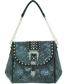 Savana Women's Faux Leather Tooled Handbag, Silver, hi-res