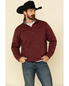 George Strait By Wrangler Men's Burgundy 1/4 Zip Relaxed Pullover Sweatshirt , Burgundy, hi-res