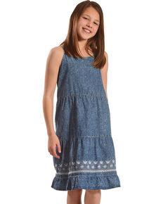 12f97530 Silver Toddler Girls Sleeveless Tiered Denim Dress, Blue, hi-res
