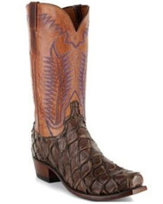 Lucchese Men's Murphy Exotic Pirarucu Skin Western Boots - Square Toe, Chocolate, hi-res