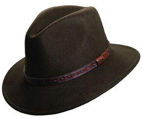 Scala Men's Olive Wool Felt with Leather Trim Safari Hat, Olive, hi-res