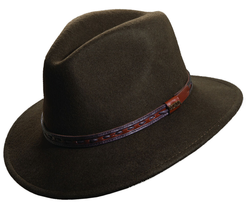 514788d8f5000 Scala Men s Olive Wool Felt with Leather Trim Safari Hat - Country ...