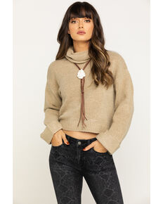 Eyeshadow Women's Tan Cropped Sweater, Tan, hi-res