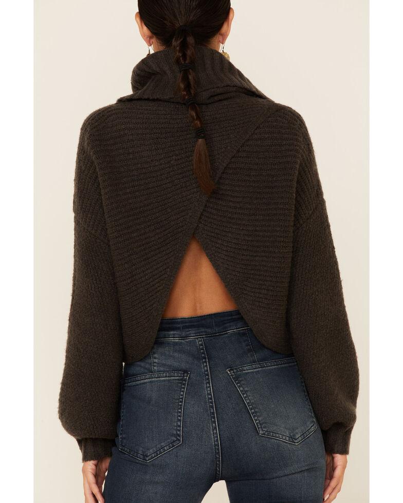 Elan Women's Wrap Back Cropped Turtleneck , Charcoal, hi-res