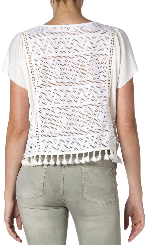Miss Me Off-White Short Sleeve Tassel Top , Off White, hi-res