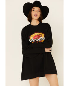 Wrangler Women's Oversized Tiger Graphic Pullover Sweatshirt , Black, hi-res