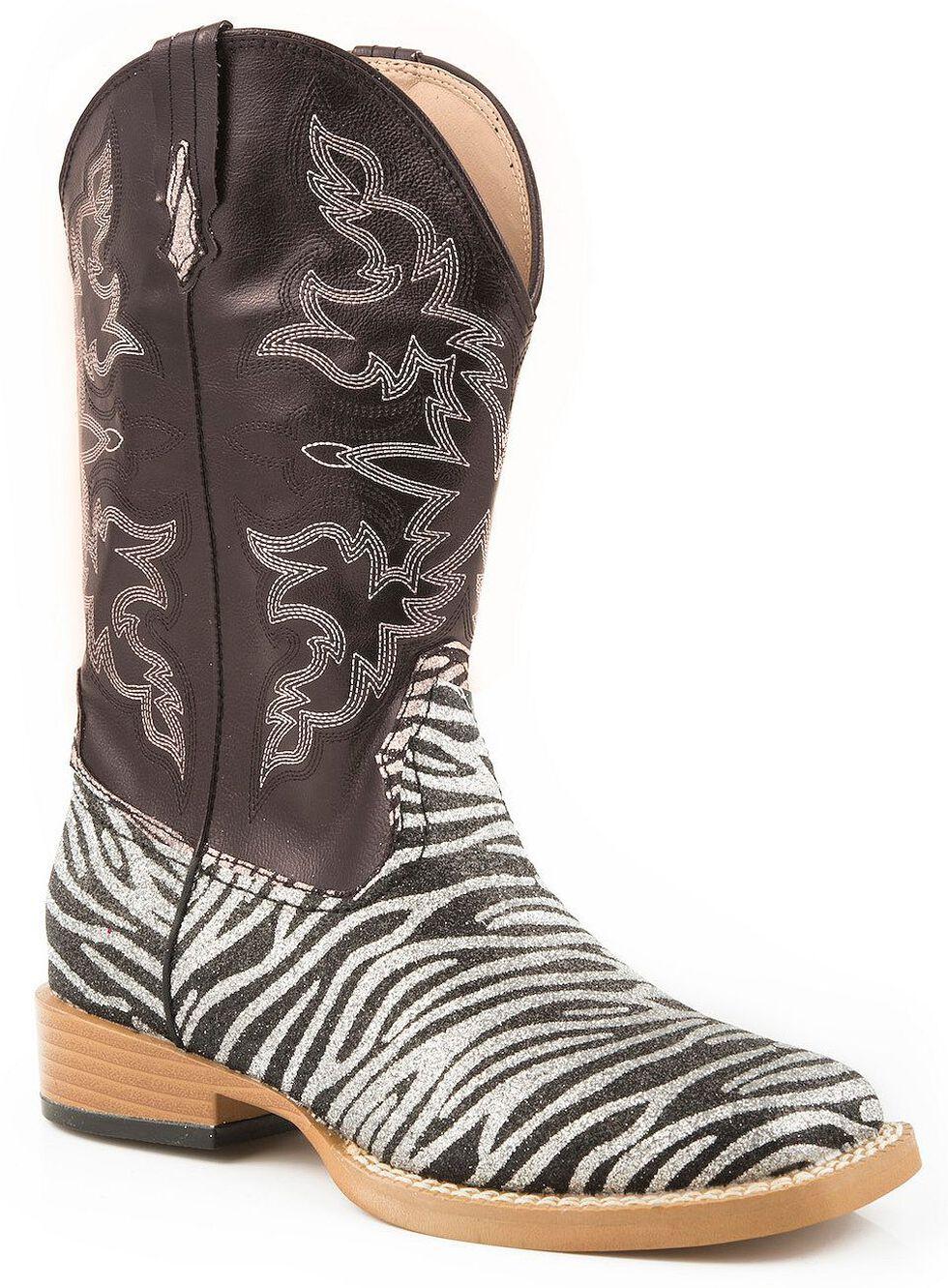 Roper Girls' Glittery Zebra Print Cowgirl Boots - Square Toe, Zebra, hi-res