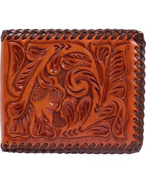 3D Hand Tooled Western Bi-Fold Wallet, Natural, hi-res