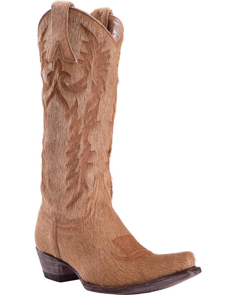 Old Gringo Women's Mayra Bone Hair On Laser Stitch Cowgirl Boots - Snip Toe, Beige/khaki, hi-res