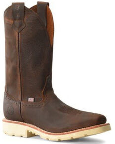 Double H Men's Domestic Roper Western Work Boots - Steel Toe, Distressed Brown, hi-res