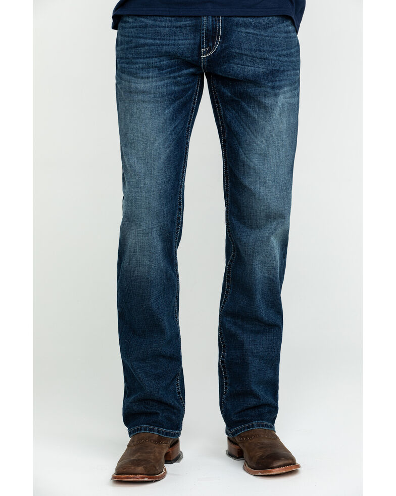 Ariat Men's M2 Denali 3D River Relaxed Stackable Bootcut Jeans - Big , Blue, hi-res