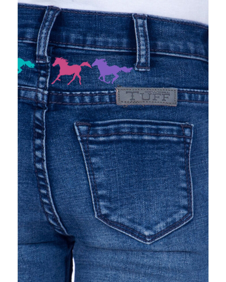 Cowgirl Tuff Girls' Ride Fast Trouser, Blue, hi-res
