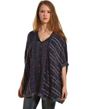 Johnny Was Women's Steel Cherpas Poncho , Blue, hi-res