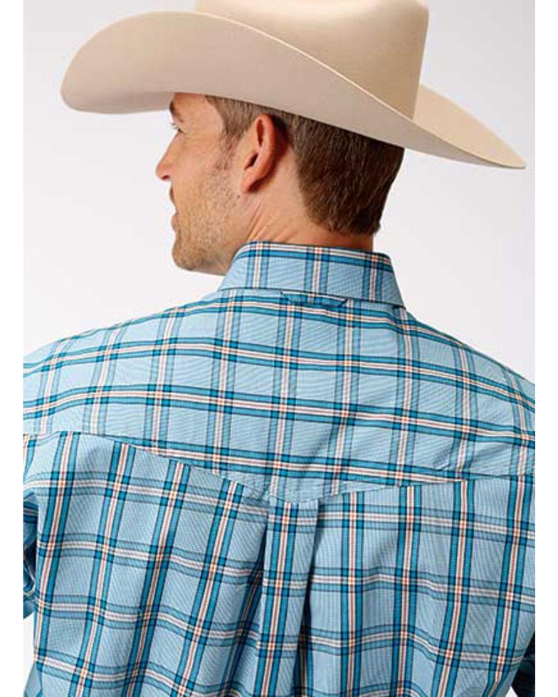 Amarillo Men's Oasis Cold Creek Plaid Button Short Sleeve Western Shirt , Blue, hi-res
