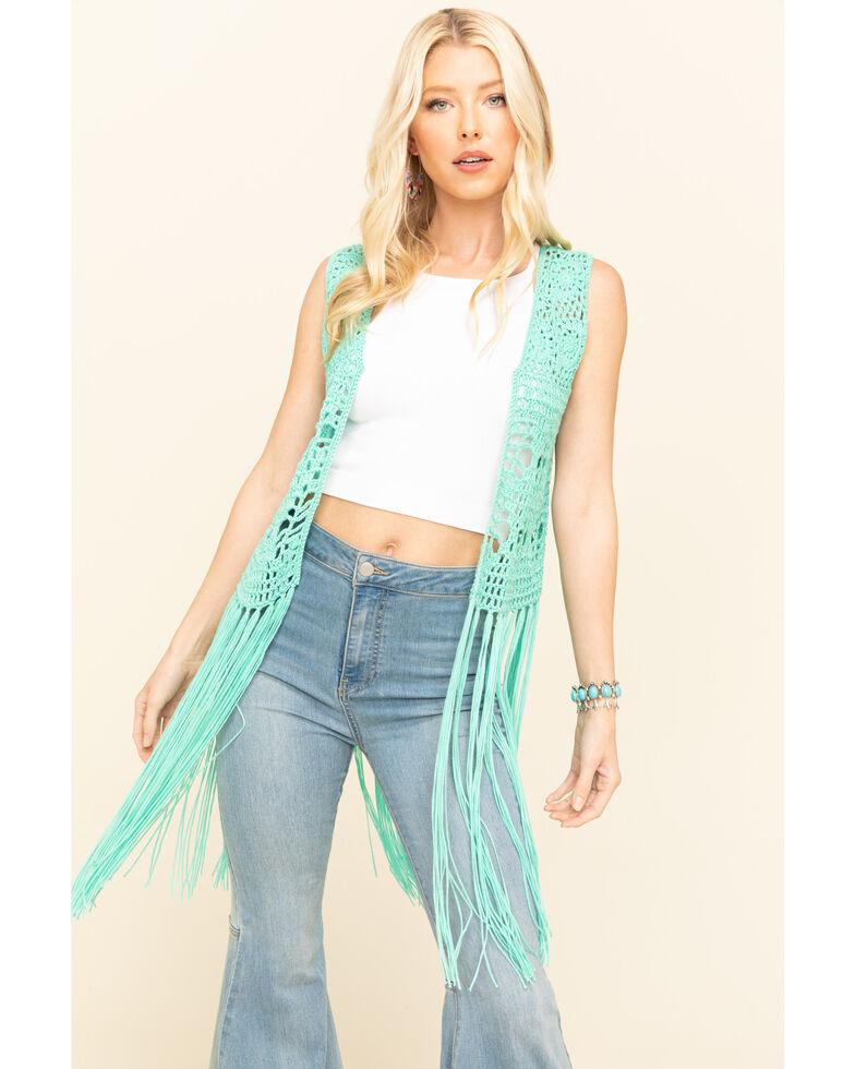 Rock & Roll Denim Women's Turquoise Crochet Long Fringe Vest, Turquoise, hi-res