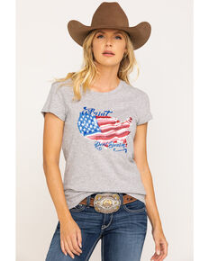 Ariat Women's R.E.A.L. Heather Grey Painted States Tee, Grey, hi-res