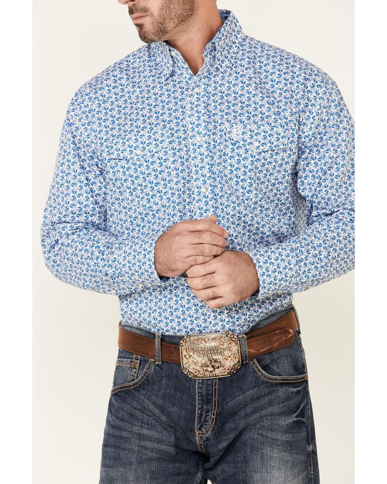 George Strait By Wrangler Men's Blue Floral Troubadour Long Sleeve Snap Western Shirt , Blue, hi-res