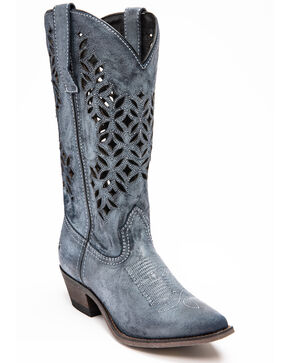 Laredo Women's Chopped Out Suede Western Boots - Snip Toe, Navy, hi-res