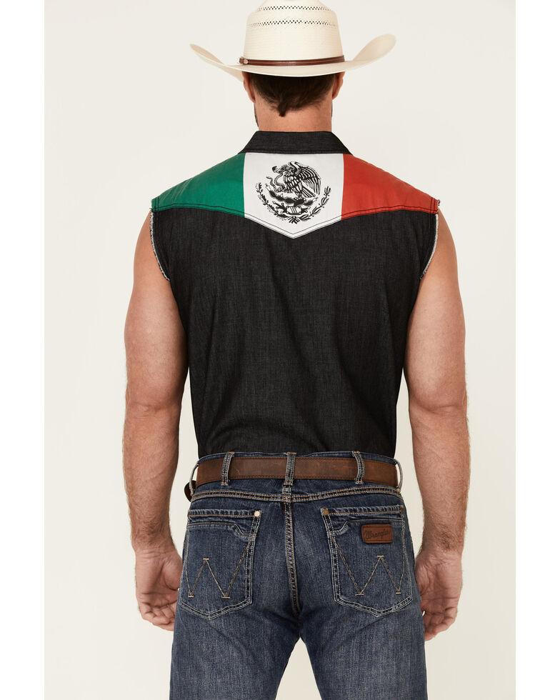 Cody James Men's Mexico Flag Bubba Sleeveless Snap Western Shirt , Black, hi-res