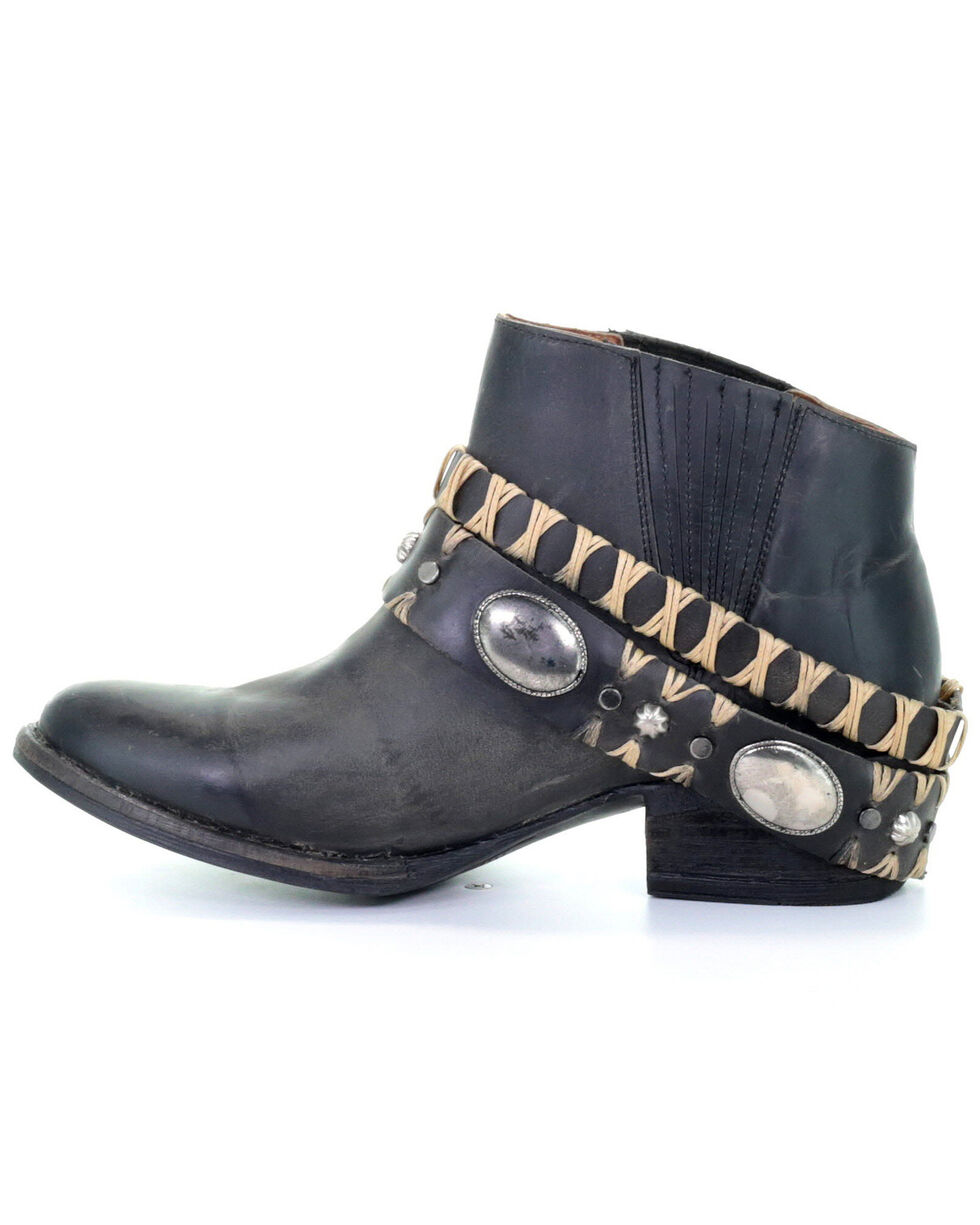 Circle G Women's Harness Western Booties - Round Toe, Black, hi-res
