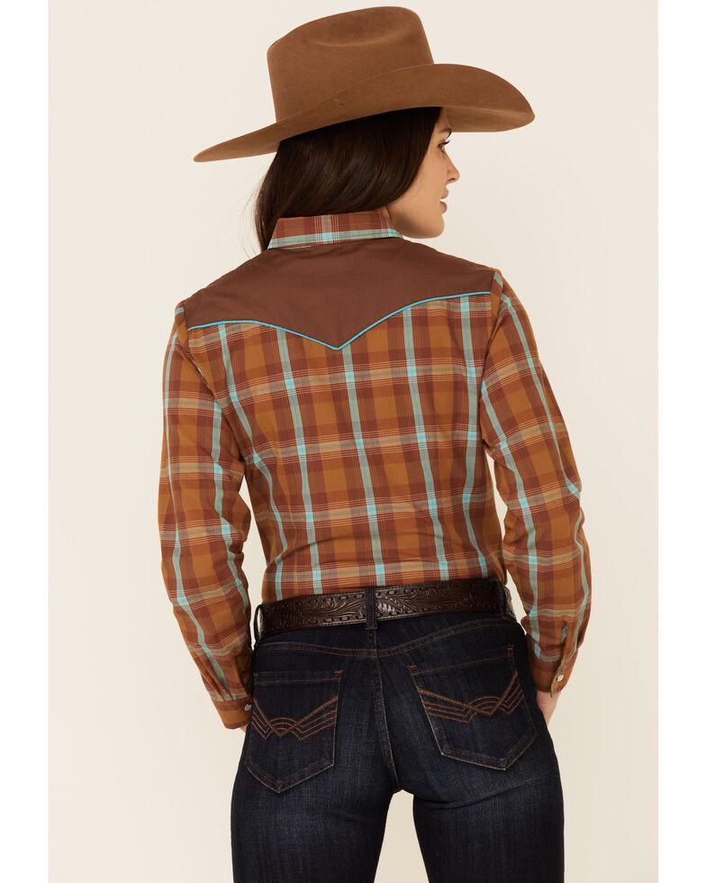 Roper Women's Classic Rust Plaid Applique Long Sleeve Snap Western Shirt , Brown, hi-res