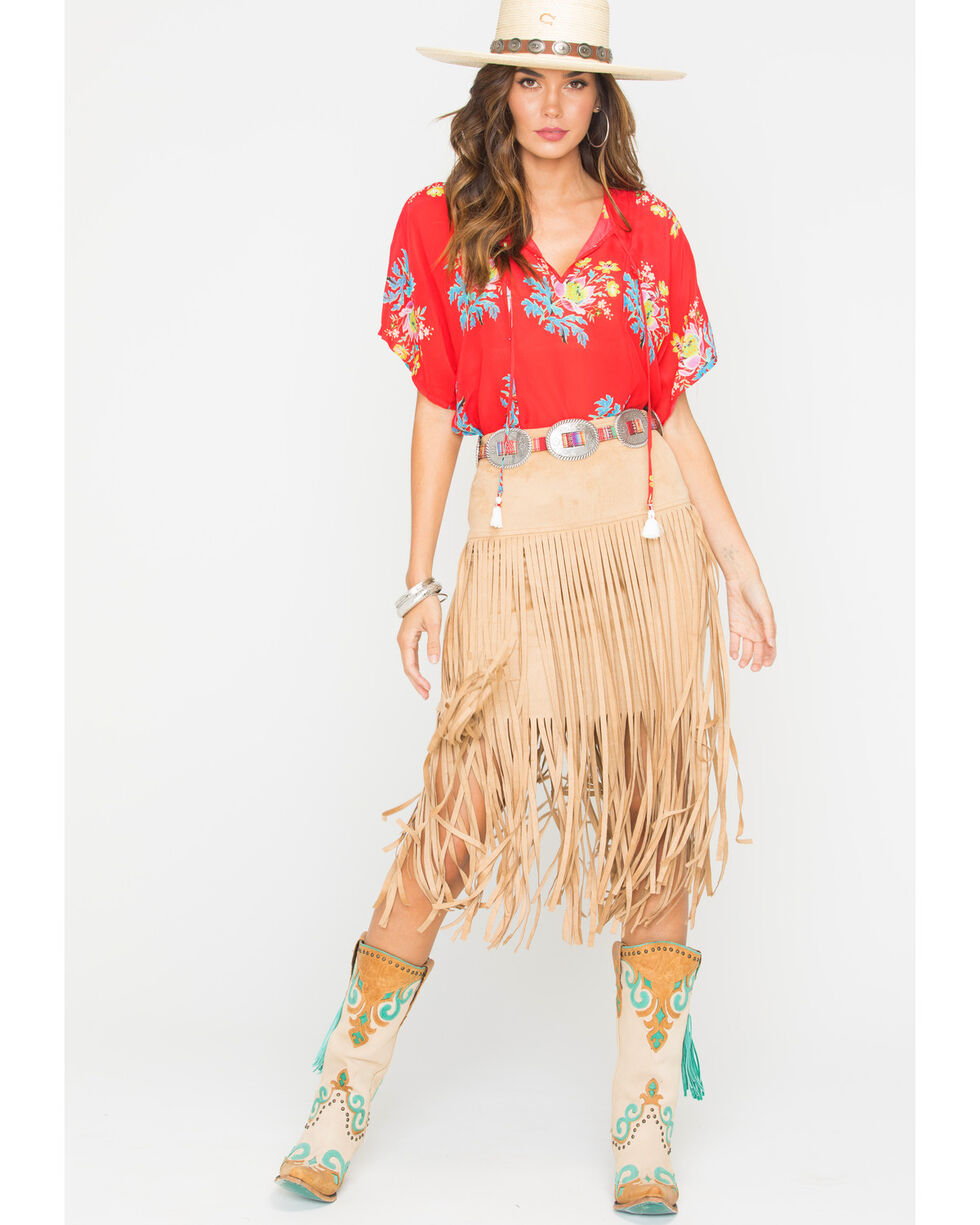 Freeway Apparel Women's Tan Long Fringe Skirt, Tan, hi-res