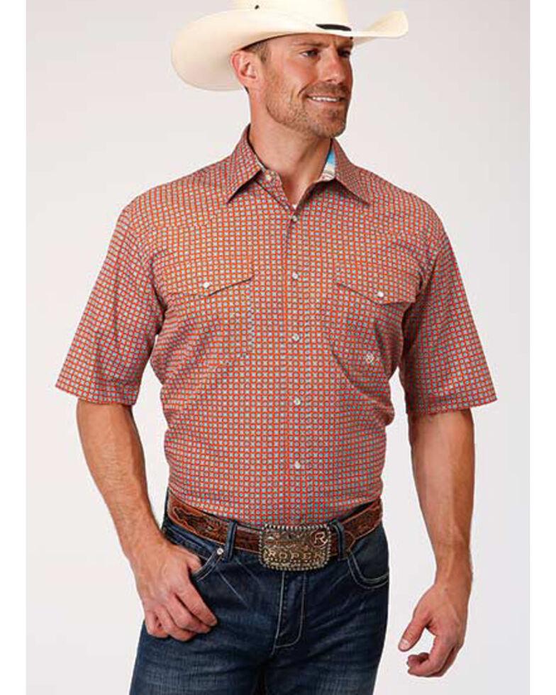 Amarillo Men's Clay Foulard Print Short Sleeve Western Shirt , Orange, hi-res