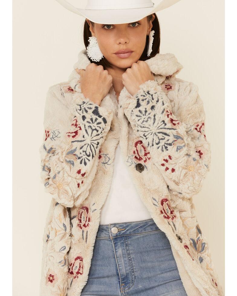 Johnny Was Women's Cream Loreido Faux Fur Coat , Cream, hi-res