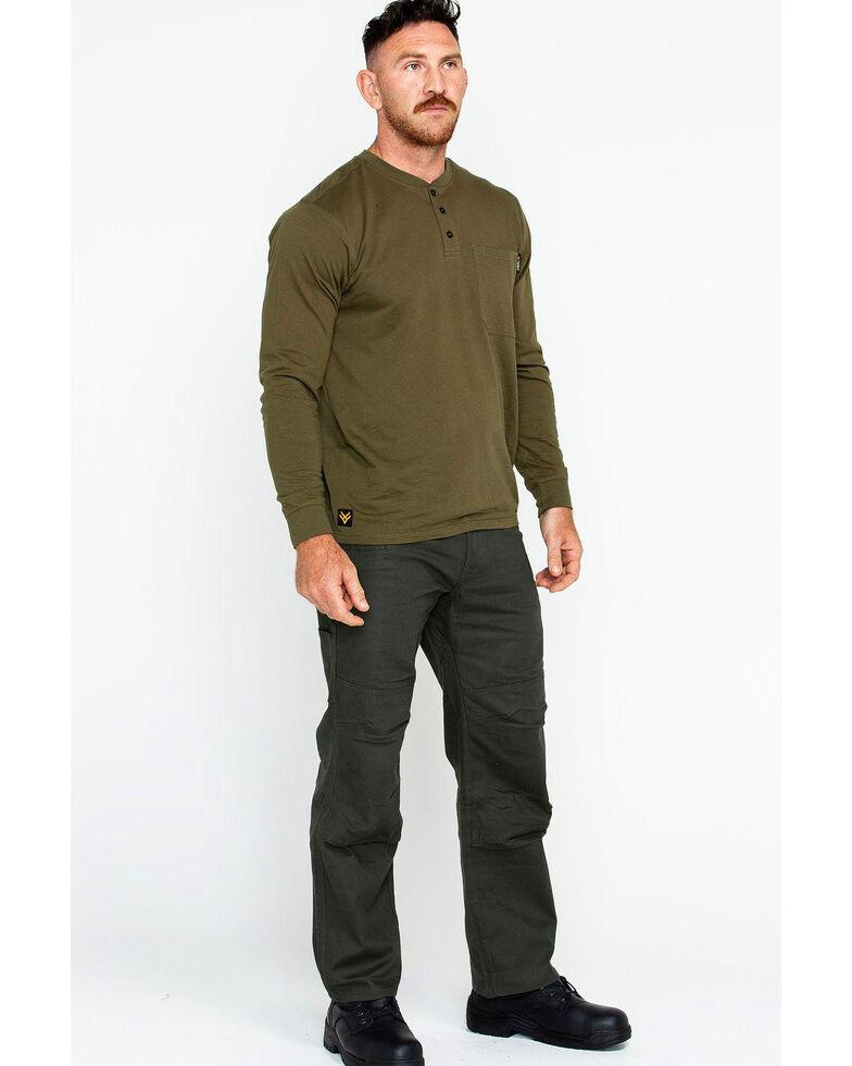 Hawx Men's Pocket Henley Work Shirt - Big & Tall , Olive, hi-res