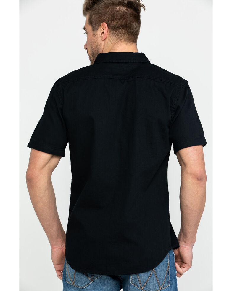 Levis Men's Black Nevin Denim Short Sleeve Western Shirt , Black, hi-res