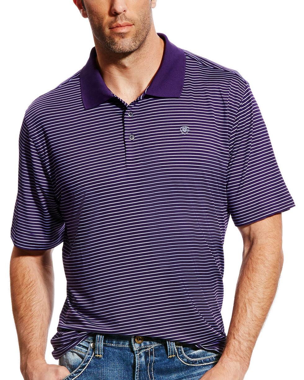 Ariat Men's AriatTEK Mini Stripe Performance Stretch Polo, Purple, hi-res