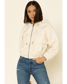 Z Supply Women's Bone Corduroy Bomber Hooded Jacket , Cream, hi-res