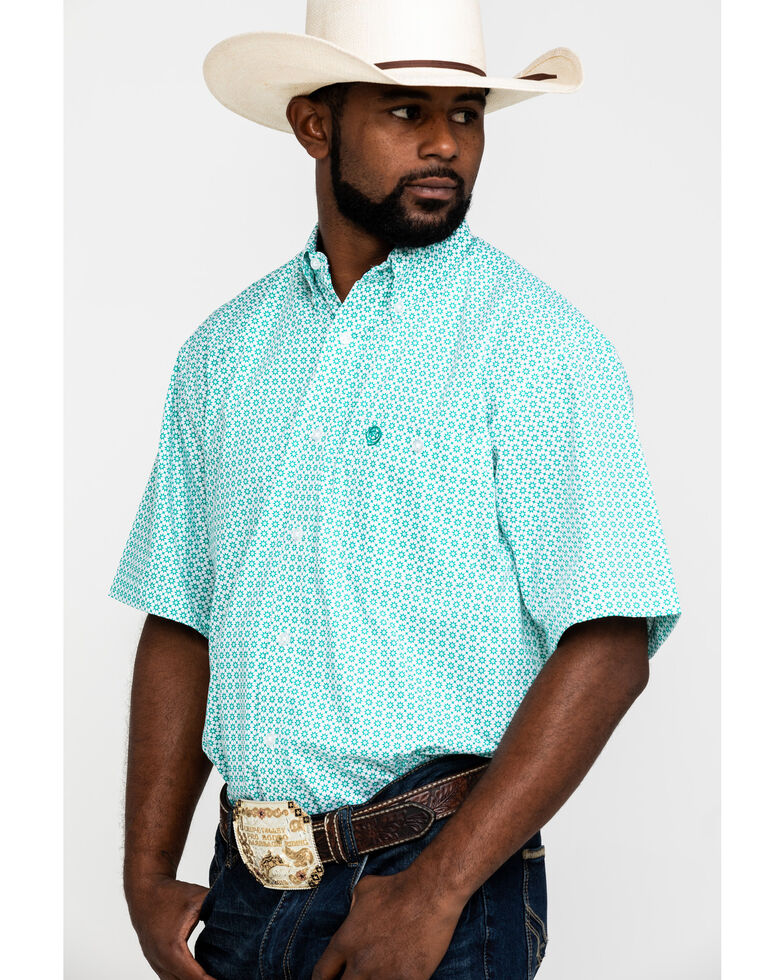 George Strait by Wrangler Men's Green Geo Print Short Sleeve Western Shirt - Big , Green, hi-res