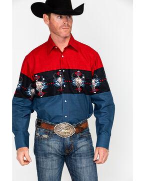 Panhandle Men's Cow Skull Scenic Border Print Long Sleeve Western Shirt , Multi, hi-res