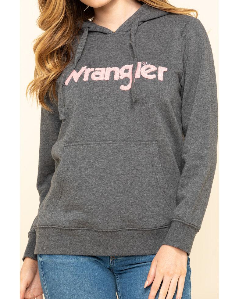 Wrangler Women's Charcoal Chenille Logo Hoodie, Charcoal, hi-res