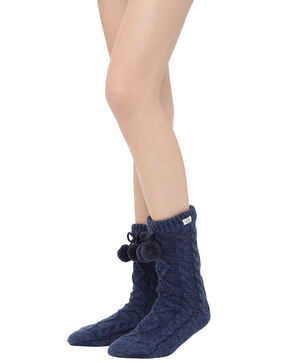 Ugg Women's Navy Pom Pom Crew Socks, Navy, hi-res